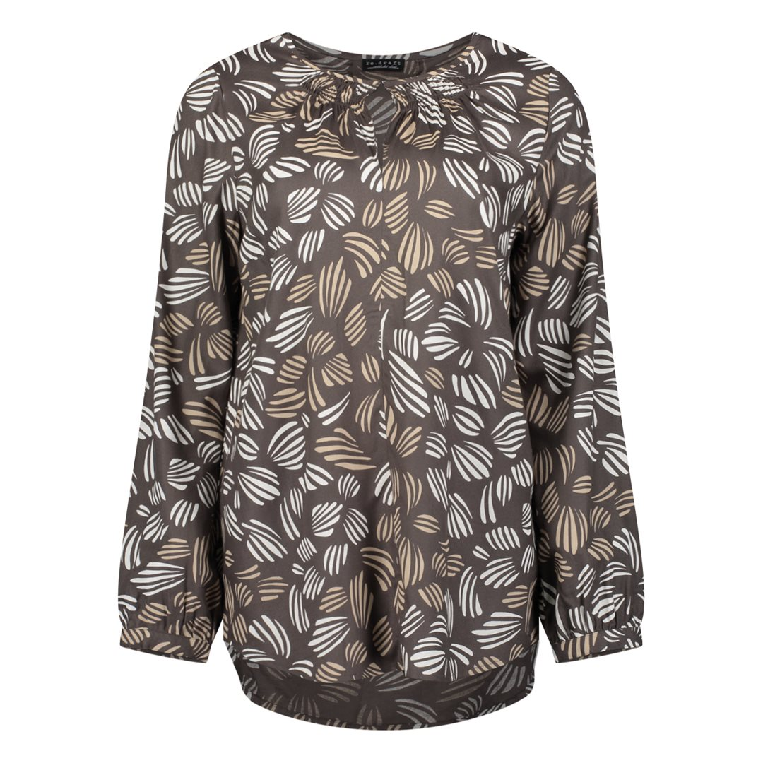 Blouse with shell AOP